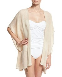Flora Bella Baltic Embroidered Linen Kimono Coverup Sand