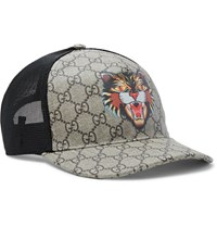 Gucci Angry Cat Printed Coated Canvas And Mesh Baseball Cap Brown