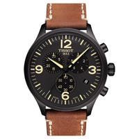 Tissot T1166173605700 'S Chrono Xl Chronograph Date Leather Strap Watch Brown Black