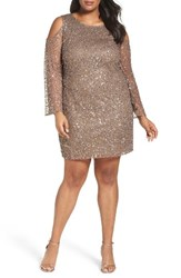 Pisarro Nights Plus Size Women's Beaded Cold Shoulder Sheath Mocha