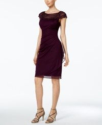 Msk Beaded Ruched Sheath Dress Luxe Plum