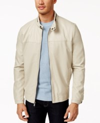 Kenneth Cole New York Faux Leather Bomber Jacket Bone