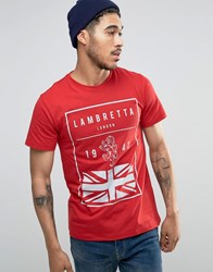 Lambretta British Flag T Shirt Red