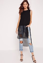 Missguided Longline Sleeveless Blouse Black Black