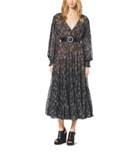 Michael Kors Bohemian Print Silk Chiffon Wrap Dress Slate