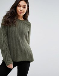 Weekday Oversized Rib Crew Neck Jumper Green
