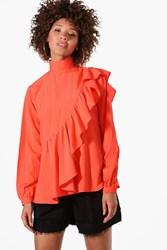 Boohoo Willow High Neck Ruffle Blouse Red