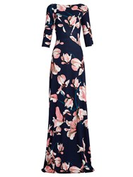 Erdem Valentina Kayo Lily Print Jersey Gown Pink Multi