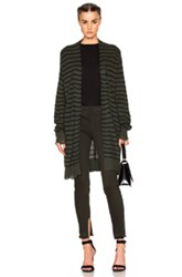 Rta Serge Cardigan In Green Stripes Green Stripes