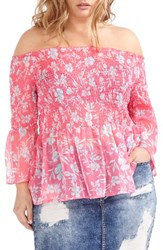 Addition Elle Love And Legend Plus Size Women's Print Chiffon Off The Shoulder Peasant Top Honey Pink Combo