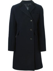 Marc By Marc Jacobs Mid Length Buttoned Coat Blue