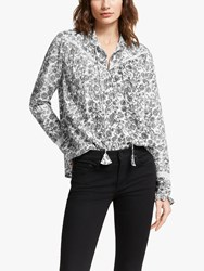 And Or Nelly Batik Floral Blouse Black White