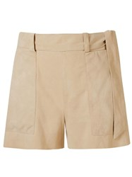 Giuliana Romanno Belt Leather Shorts Nude And Neutrals