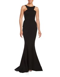 Xscape Evenings Mesh Back Mermaid Gown Black