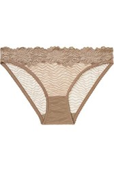 Lonely Bonnie Metallic Lace Trimmed Embroidered Stretch Tulle Briefs Taupe