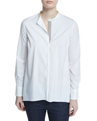 Brunello Cucinelli Long Sleeve Monili Placket Top White
