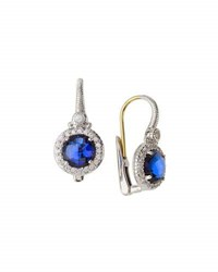 Judith Ripka Round Crystal And Sapphire Drop Earrings Blue