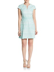 Cynthia Steffe Piper Short Sleeve Box Pleat Dress Frozen Aqua