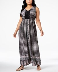 Styleandco. Style Co Plus Size Printed Crochet Trim Empire Waist Maxi Dress Created For Macy's Paisley Fields