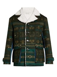 Valentino Geometric Intarsia Faux Shearling Jacket Brown Multi