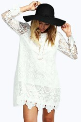 Boohoo Flower Lace Long Sleeve Smock Dress White