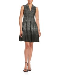 Vince Camuto Pleated Fit And Flare Dress Black White