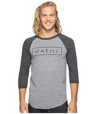 O'neill Running Raglan Long Sleeve Screens Impression T Shirt Grey Black Men's T Shirt Gray