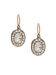 Azaara Vintage Swarovski Crystal Oval Drop Earrings Antique Gold