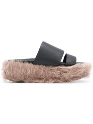 Peter Non Pladiade Slippers Leather Calf Hair Rubber Black