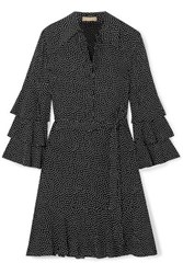 Michael Kors Collection Belted Ruffled Polka Dot Silk Crepe Mini Dress Black