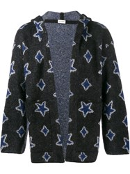 Saint Laurent Star Intarsia Hooded Cardigan Black