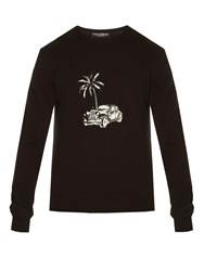 Dolce And Gabbana Palm Tree Car Embroidered Sweatshirt Black