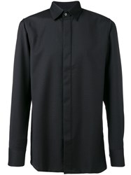Matthew Miller Fitted Long Sleeve Shirt W.Hidden Button Black