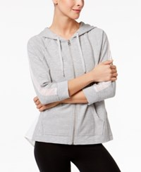 Calvin Klein Performance Mesh Trim Hoodie Pearl Heather Gray