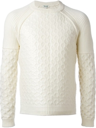Kenzo Cable Knit And Ribbed Panel Sweater White