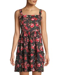 Romeo And Juliet Couture Square Neck Floral Fit Flare Tank Dress Black