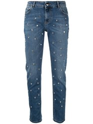 Red Valentino Crystal Embellished Jeans Blue