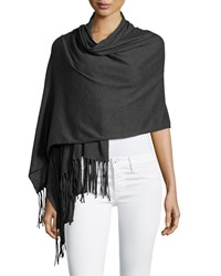 Minnie Rose Cotton Fringe Trim Wrap Charcoal