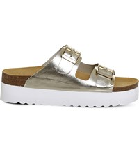Office Might Flatform Metallic Leather Sandals Gold Leather