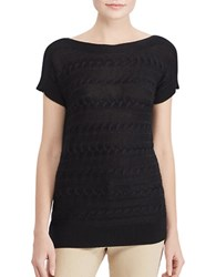 Lauren Ralph Lauren Petite Solid Ribbed Bateau Neck Top Polo Black