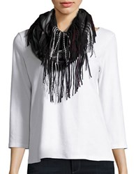 Lord And Taylor Plaid Fringe Loop Scarf Black