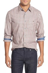 Wallin And Bros Trim Fit Jaspe Plaid Sport Shirt Red
