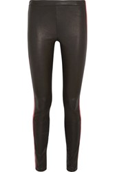 Haider Ackermann Striped Leather Leggings Black