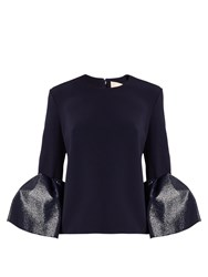Roksanda Ilincic Truffaut Bell Sleeved Stretch Cady Top Navy