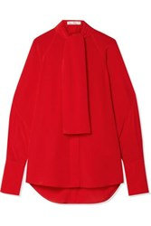 Victoria Beckham Pussy Bow Silk Crepe De Chine Blouse Tomato Red