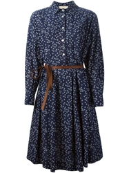 Erika Cavallini Semi Couture Flower Print Belted Shirt Dress
