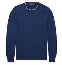 Loro Piana Contrast Tipped Waffle Knit Cashmere Sweater Blue