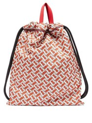 Burberry Bobby Tb Print Drawstring Backpack Red Multi