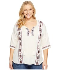 Lucky Brand Plus Size Embroidered Popover Top Egg Shell Women's Clothing Bone