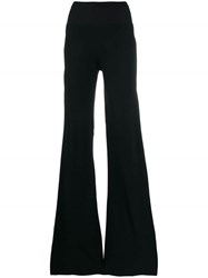 Rick Owens High Waisted Flared Trousers Black